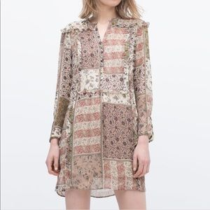 ZARA paisley patchwork Shirt Dress